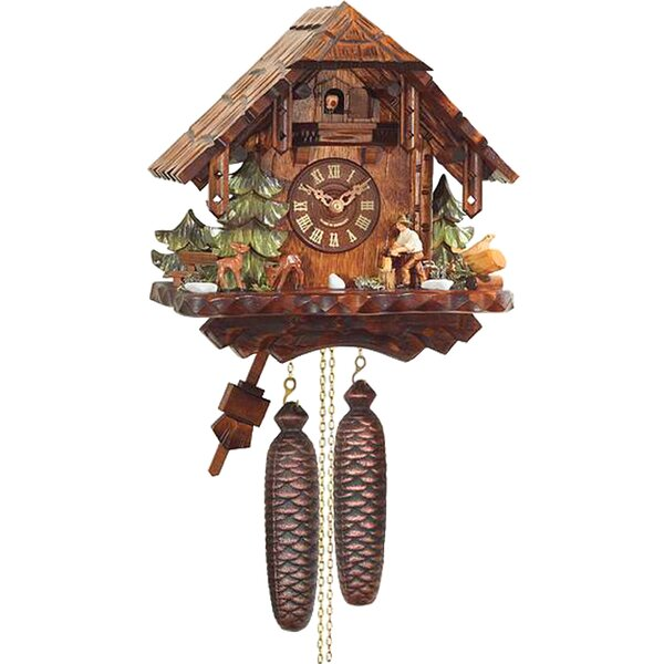 Traditional Weight Driven Wood Cuckoo Wall Clock by Loon Peak