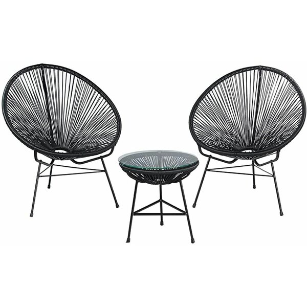 OQuinn Patio Chair (Set of 3) by Wrought Studio