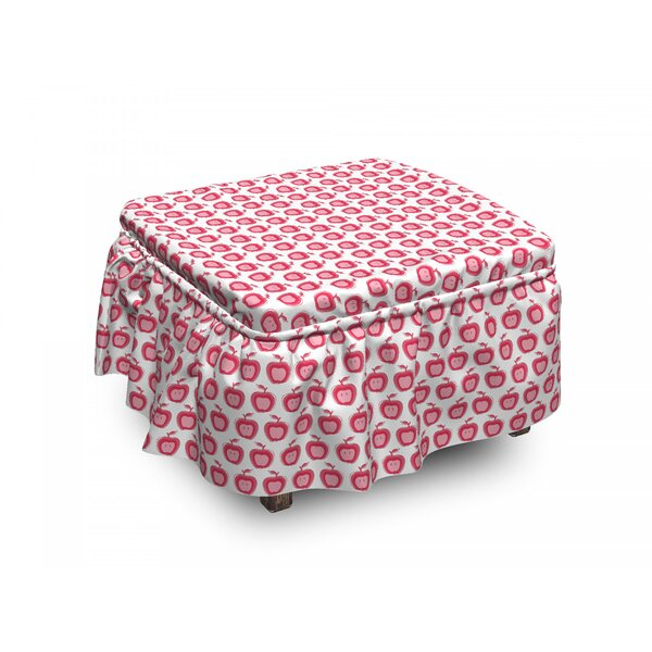 Apple Doodle Girls 2 Piece Box Cushion Ottoman Slipcover Set By East Urban Home