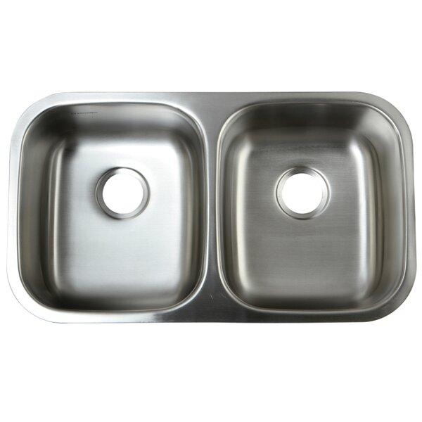 Loft 32.25 L x 18.5 W Undermount 18 Gauge Double Bowl Kitchen Sink