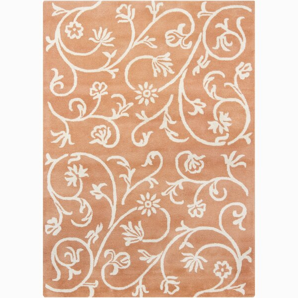 Constance Wool Hand Woven Orange Swirl Floral Area Rug by Viv + Rae
