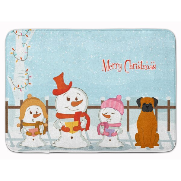 Merry Christmas Carolers Fawn Boxer Memory Foam Bath Rug by The Holiday Aisle