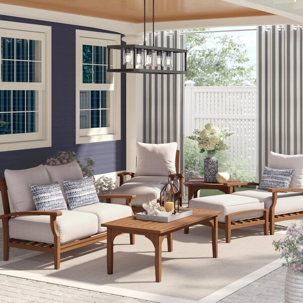 Summerton 7 Piece Teak Sofa Seating Group with Cushions (Set of 7) by Birch Lane™ Heritage
