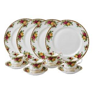 Old Country Roses Bone China 12 Piece Dinnerware Set Service for 4  sc 1 st  Wayfair & Roscher Dinnerware | Wayfair