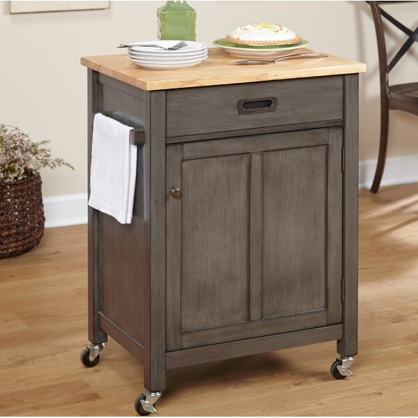 Jonesville Kitchen Cart with Butcher Block Top by Gracie Oaks
