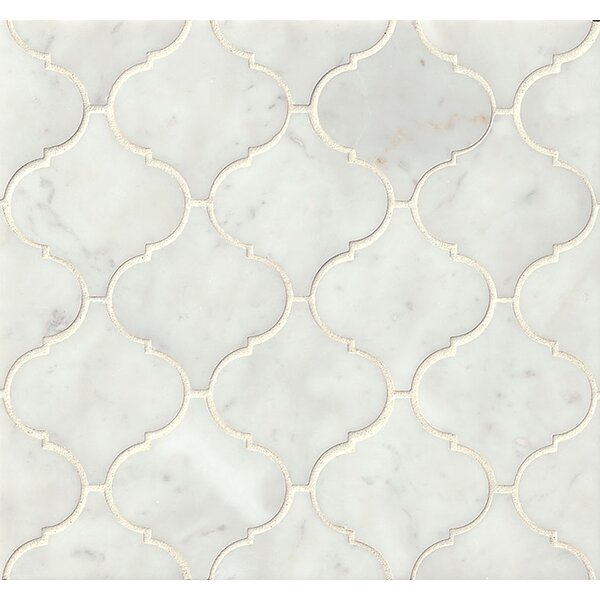 Polished Marble Mosaic Tile in White Carrara by Grayson Martin