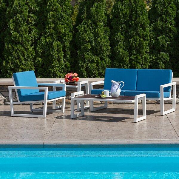 Vero 4 Piece Sunbrella Sofa Set with Cushions by Elan Furniture