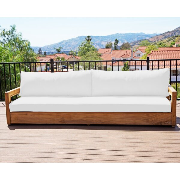 Crelake Deluxe Teak Patio Sofa with Sunbrella Cushions by Foundry Select