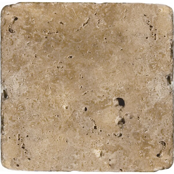 Travertine 16 x 16 Field Tile in Ancient Tumbled Mocha by Emser Tile