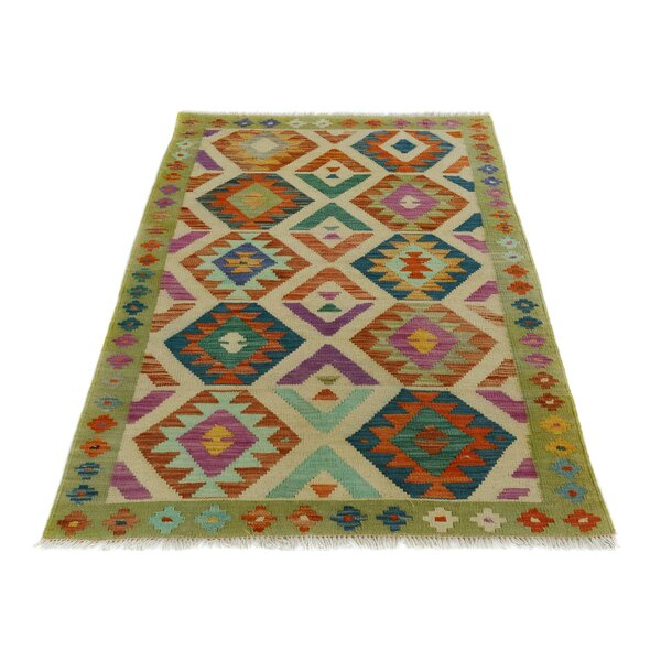 One-of-a-Kind Bakerstown Kilim Hand-Woven Gray/Purple Area Rug by Bloomsbury Market