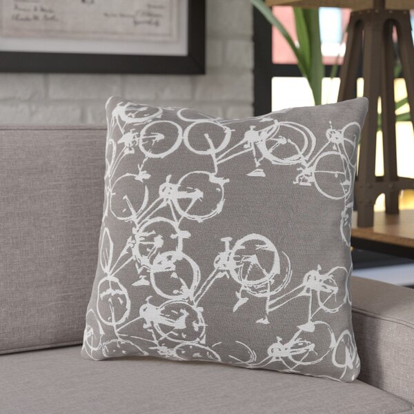 Ellen Bicycle Print Throw Pillow by Trent Austin Design