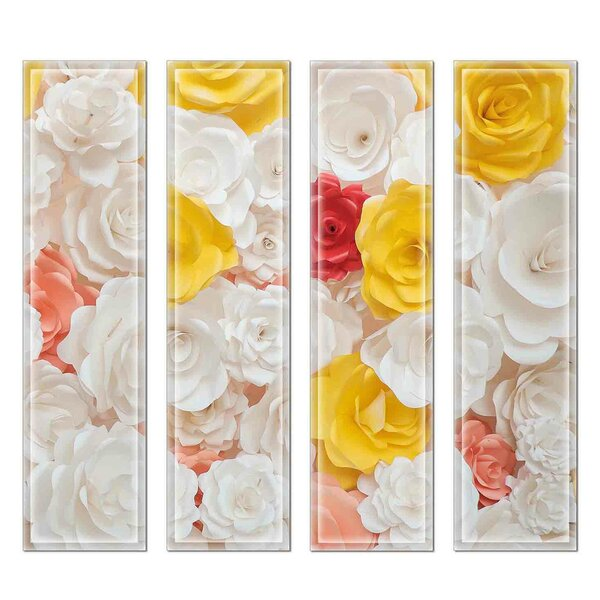 Crystal 3 x 12 Beveled Glass Subway Tile in Yellow/Peach by Upscale Designs by EMA