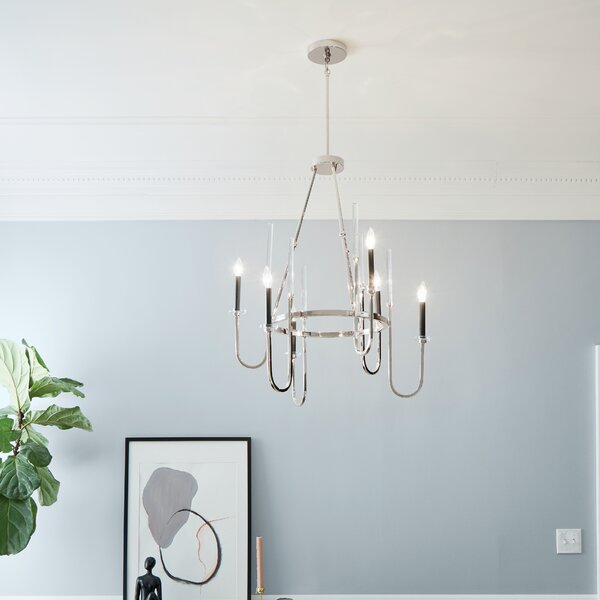 Zephyrine 6 - Light Candle Style Wagon Wheel Chandelier by Everly Quinn Everly Quinn