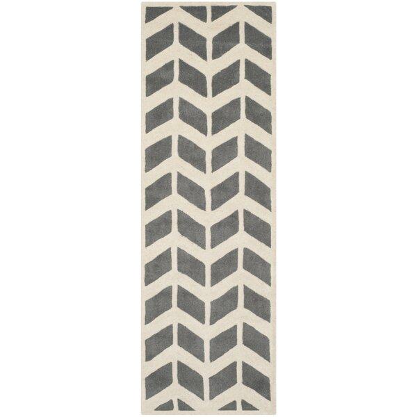 Wilkin Hand-Tufted Wool Dark Gray/Ivory Area Rug by Wrought Studio