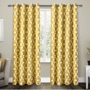 britain room darkening geometric blackout thermal grommet curtain panel set of 2