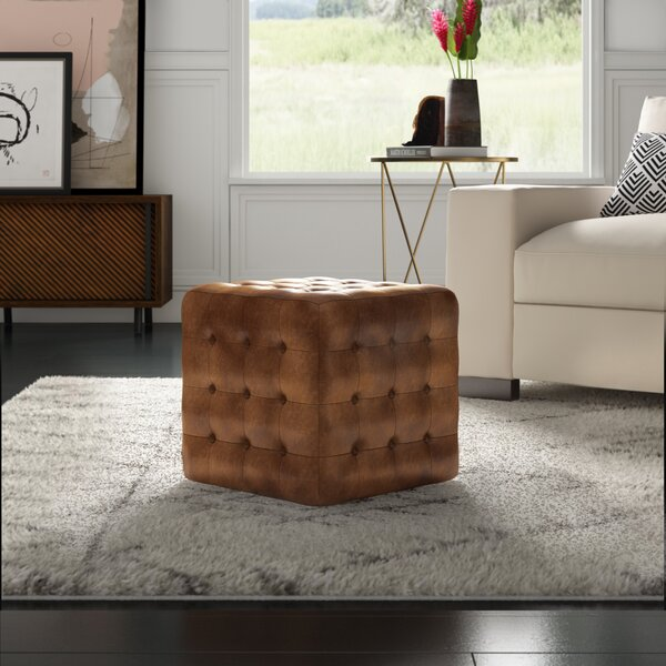Elgin Leather Tufted Cube Ottoman by Mercury Row