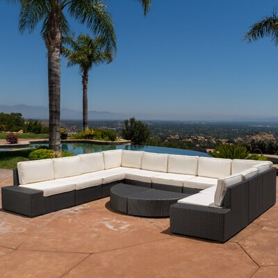 Wade Logan Rattan Sectional Seating Group Cushions Frame Cushion Color Seating Groups