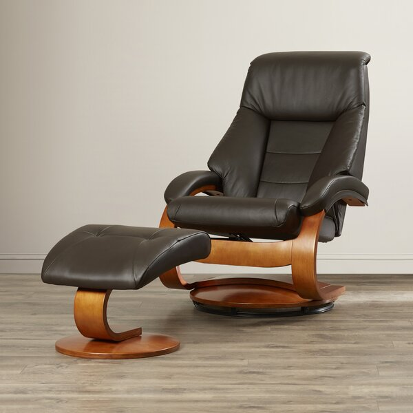 Flathead Lake Leather Manual Swivel Recliner With Ottoman by Red Barrel Studio
