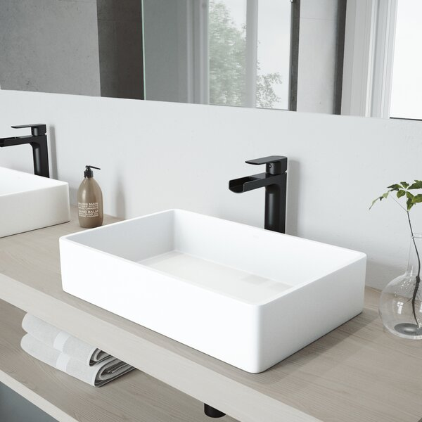 Matte Stone White Rectangular Vessel Bathroom Sink with Faucet