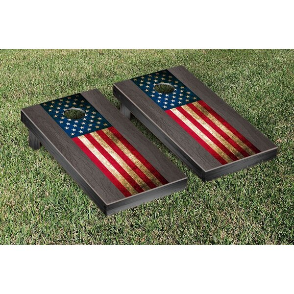 US Vintage Flag Onyx Stained Stripe Version Cornhole Game Set by Victory Tailgate