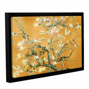 'Almond Blossom-Interpretation in Merigold Orange' by Vincent Van Gogh Framed Painting Print on Wrapped Canvas by World Menagerie