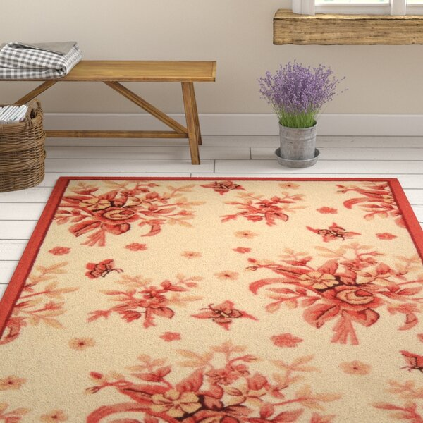Kinchen Ivory/Pink Rose Garden Area Rug by August Grove