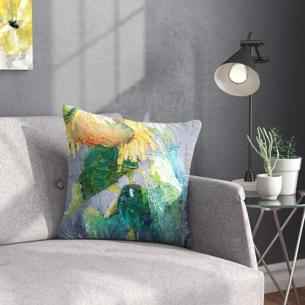 Carol Schiff Lonely Sunflower Nature Outdoor Throw Pillow by East Urban Home