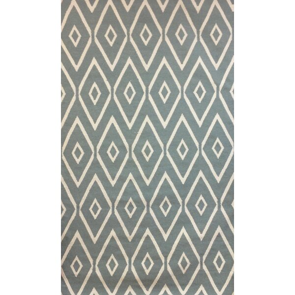 Norfolk Seafoam & Ivory Diamond Area Rug by Rosecliff Heights