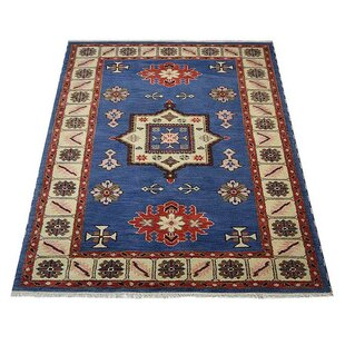 Read Reviews Corrin Hand-Knotted Wool/Silk Aqua/White Area Rug ByBloomsbury Market