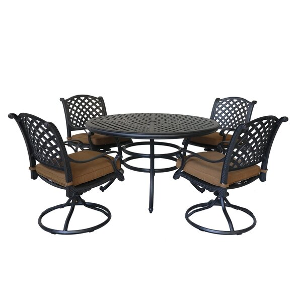 Waddington 5 Piece Dining Set with Sunbrella Cushions by Fleur De Lis Living