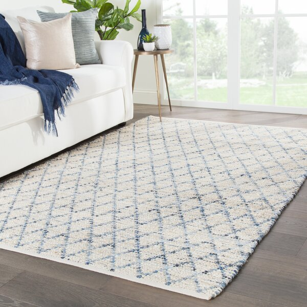 Dotson Natural Handwoven Flatweave Ivory/Blue Area Rug by Bungalow Rose