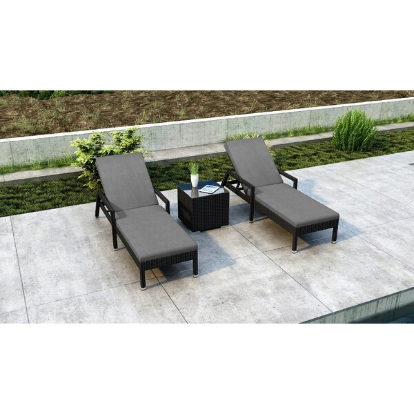 Glendale Sun Chaise Lounger Set with Cushions and Table by Everly Quinn Everly Quinn
