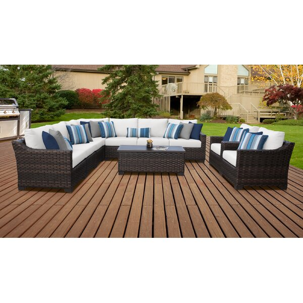 River Brook 10 Piece Outdoor Wicker Patio Furniture Set 10a by kathy ireland Homes & Gardens by TK Classics