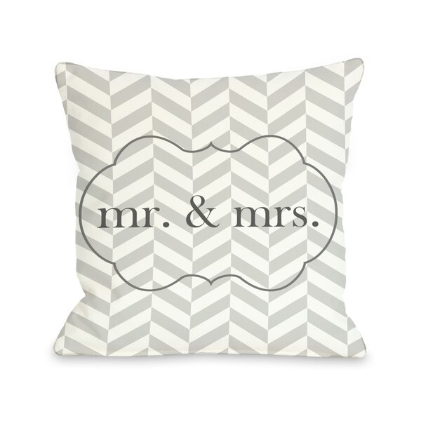 Mr & Mrs Frame Throw Pillow by One Bella Casa