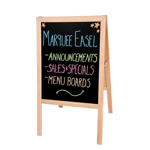 Natural Hardwood Marquee Double Sided Board Easel by Flipside Products