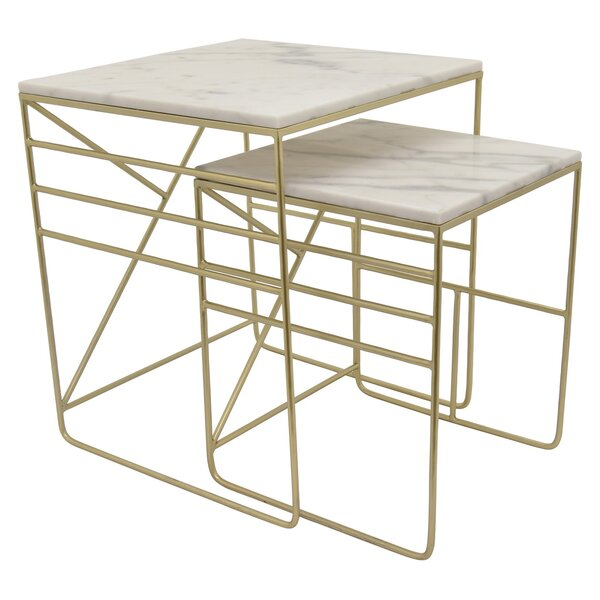 Potomac Metal Marble Top 2 Piece Nesting Tables by Brayden Studio Brayden Studio®