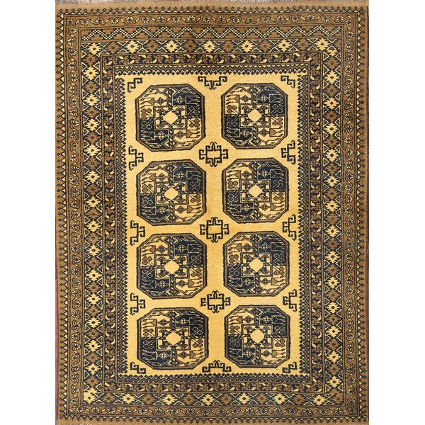 One-of-a-Kind Seagle Balouch Afghanistan Oriental Hand-Knotted Wool Yellow/Gold Area Rug by Bloomsbury Market