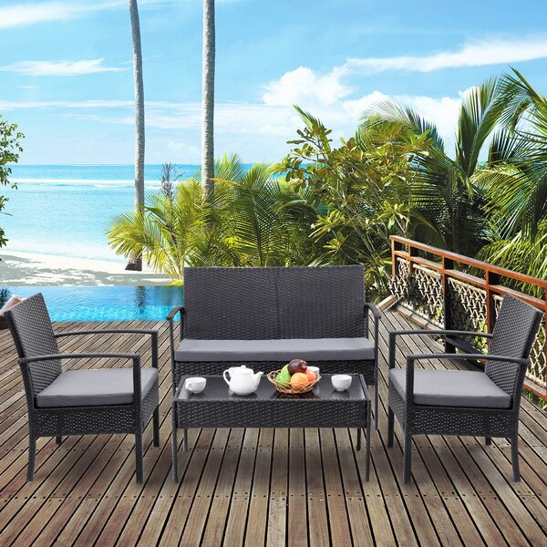 Kudret Patio 3 Piece Rattan Seating Group with Cushions by Latitude Run