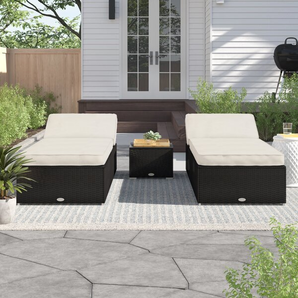 Hazen 3 Piece Lounge Rattan Seating Group with Cushions by Zipcode Design