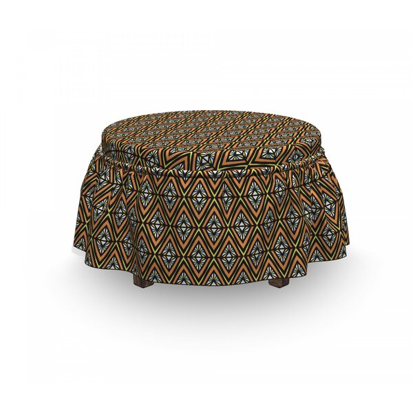 Rhombuses Stained Glass Ottoman Slipcover (Set Of 2) By East Urban Home
