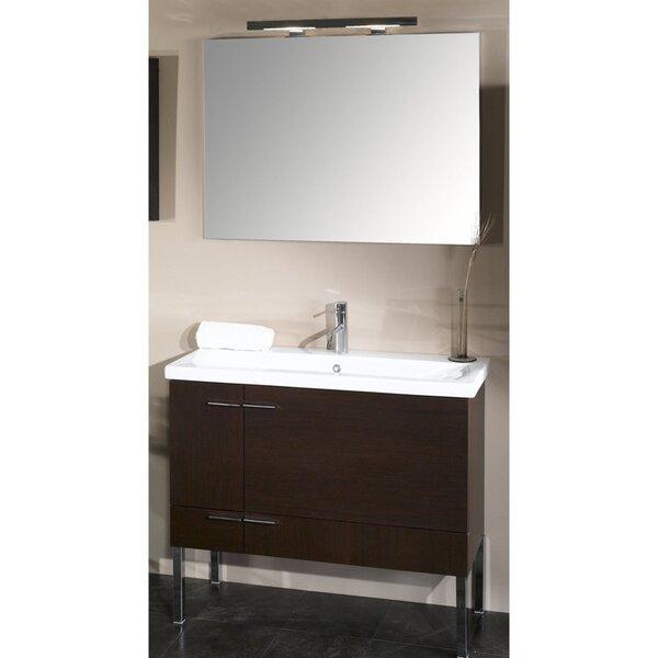 Lewiston 39 Wall-Mounted Single Bathroom Vanity Set with Mirror