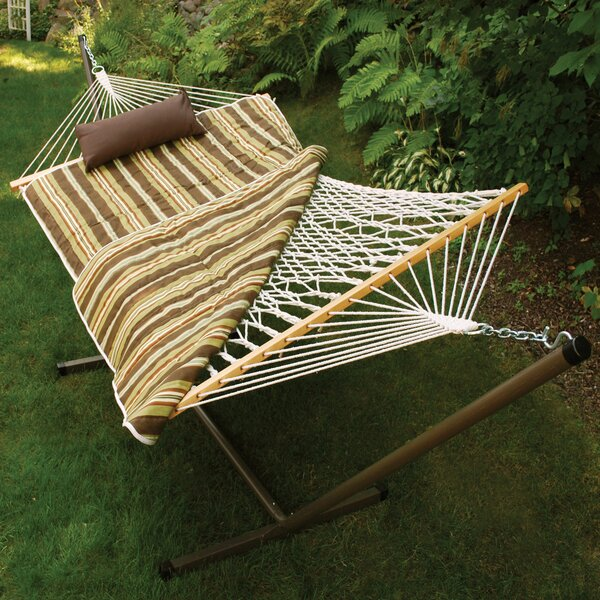Hoyt 4 Piece Rope Cotton Hammock With Stand By Beachcrest Home