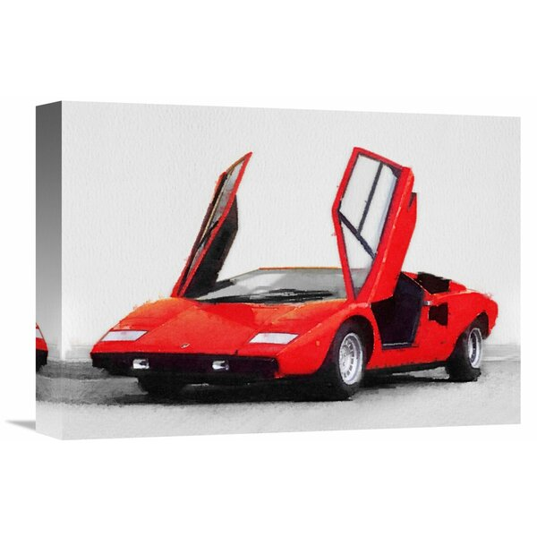 1974 Lamborghini Countach Open Doors Watercolor Graphic Art On Wrapped Canvas By Naxart.
