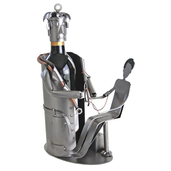 Doctor with Patient 1 Bottle Tabletop Wine Rack by H & K SCULPTURES