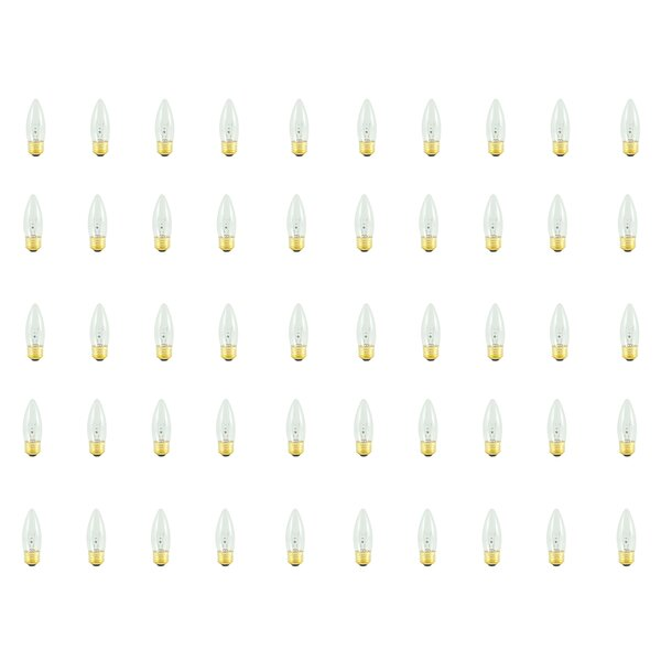 25W E26 Dimmable Incandescent Candle Light Bulb (Set of 50) by Bulbrite Industries