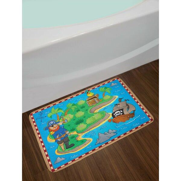 Multicolor Island Map Bath Rug by East Urban Home