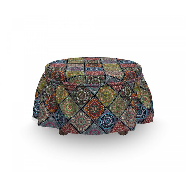 Mandala Circles In Rectangles 2 Piece Box Cushion Ottoman Slipcover Set By East Urban Home