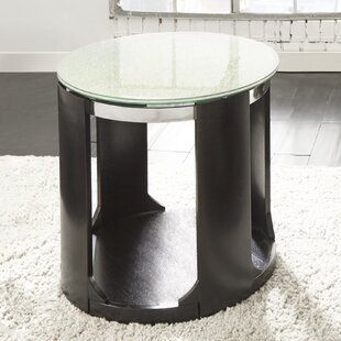 Compare prices Charly Cracked Glass Round End Table By Latitude Run
