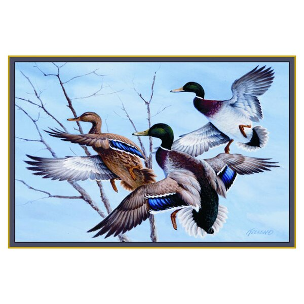 Wildlife Mallards Blue/Brown Area Rug by Custom Printed Rugs
