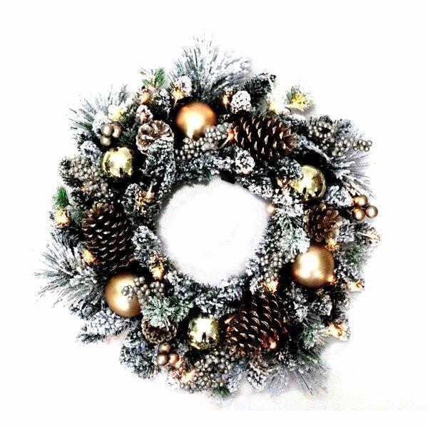 Flocked 24 Lighted Wreath by Kurt Adler